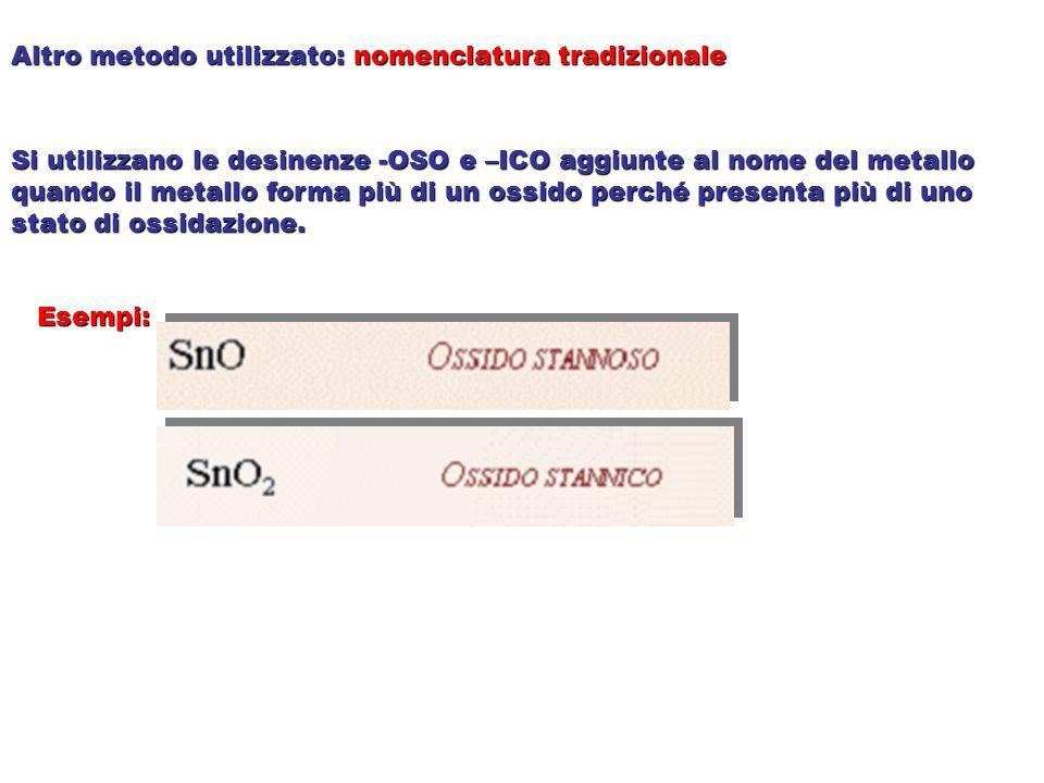 Altro metodo utilizzato: nomenclatura tradizionale Si utilizzano le desinenze -OSO e –ICO aggiunte al nome del metallo quando il metallo forma più di