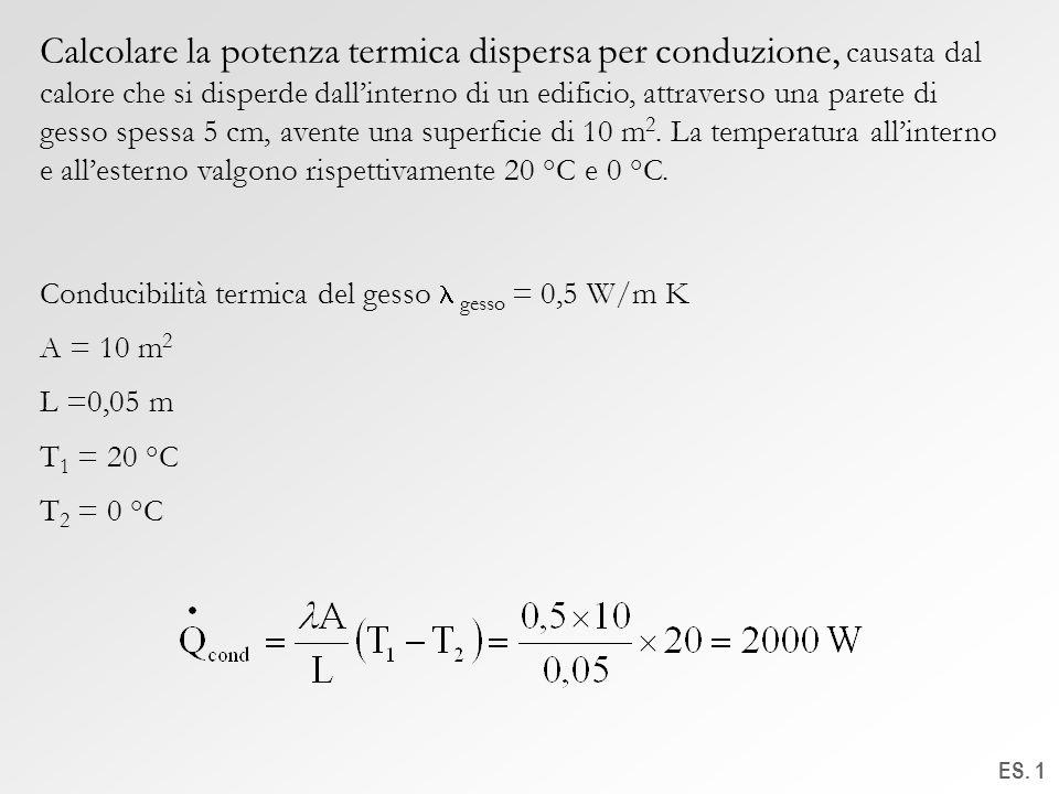ES. 1 Calcolare la potenza termica dispersa per conduzione, causata dal calore che si disperde dallinterno di un edificio, attraverso una parete di ge