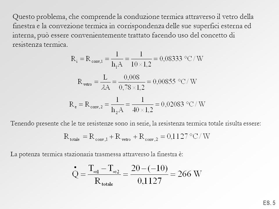 Questo problema, che comprende la conduzione termica attraverso il vetro della finestra e la convezione termica in corrispondenza delle sue superfici