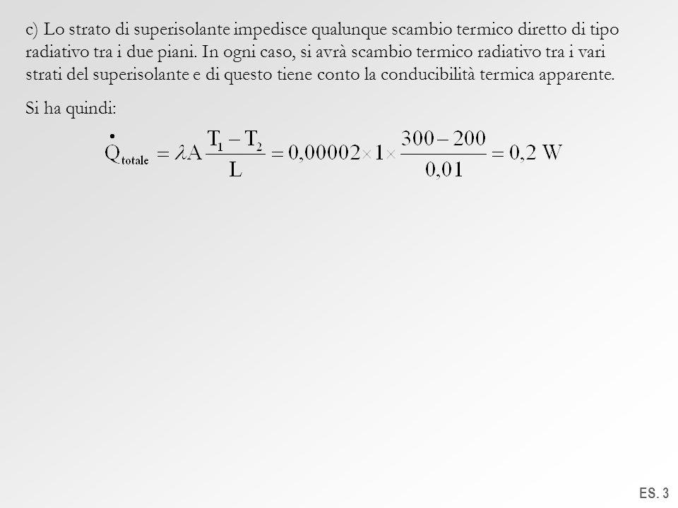 ES. 3 c) Lo strato di superisolante impedisce qualunque scambio termico diretto di tipo radiativo tra i due piani. In ogni caso, si avrà scambio termi