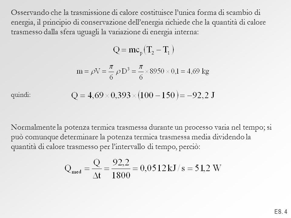 ES. 4 Osservando che la trasmissione di calore costituisce lunica forma di scambio di energia, il principio di conservazione dellenergia richiede che