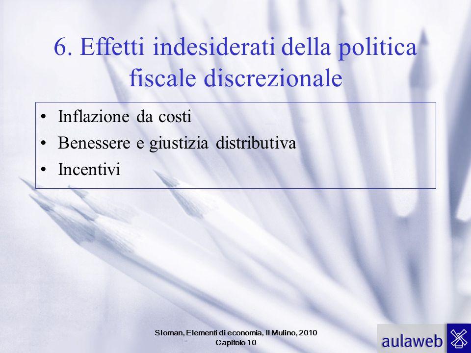 Sloman, Elementi di economia, Il Mulino, 2010 Capitolo 10 6. Effetti indesiderati della politica fiscale discrezionale Inflazione da costi Benessere e