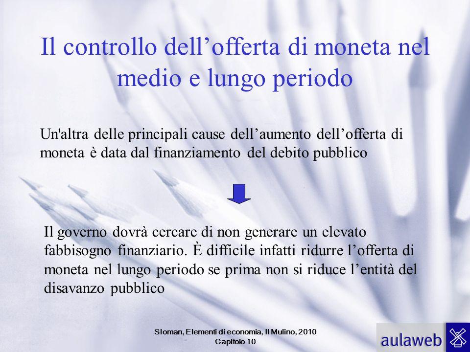 Sloman, Elementi di economia, Il Mulino, 2010 Capitolo 10 Il controllo dellofferta di moneta nel medio e lungo periodo Un'altra delle principali cause