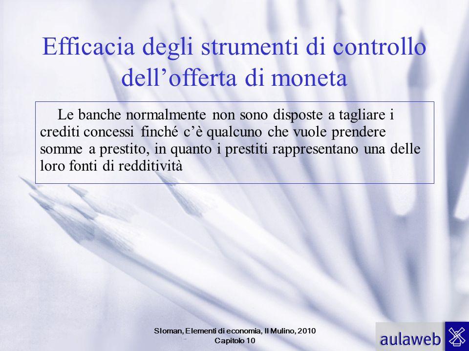 Sloman, Elementi di economia, Il Mulino, 2010 Capitolo 10 Efficacia degli strumenti di controllo dellofferta di moneta Le banche normalmente non sono