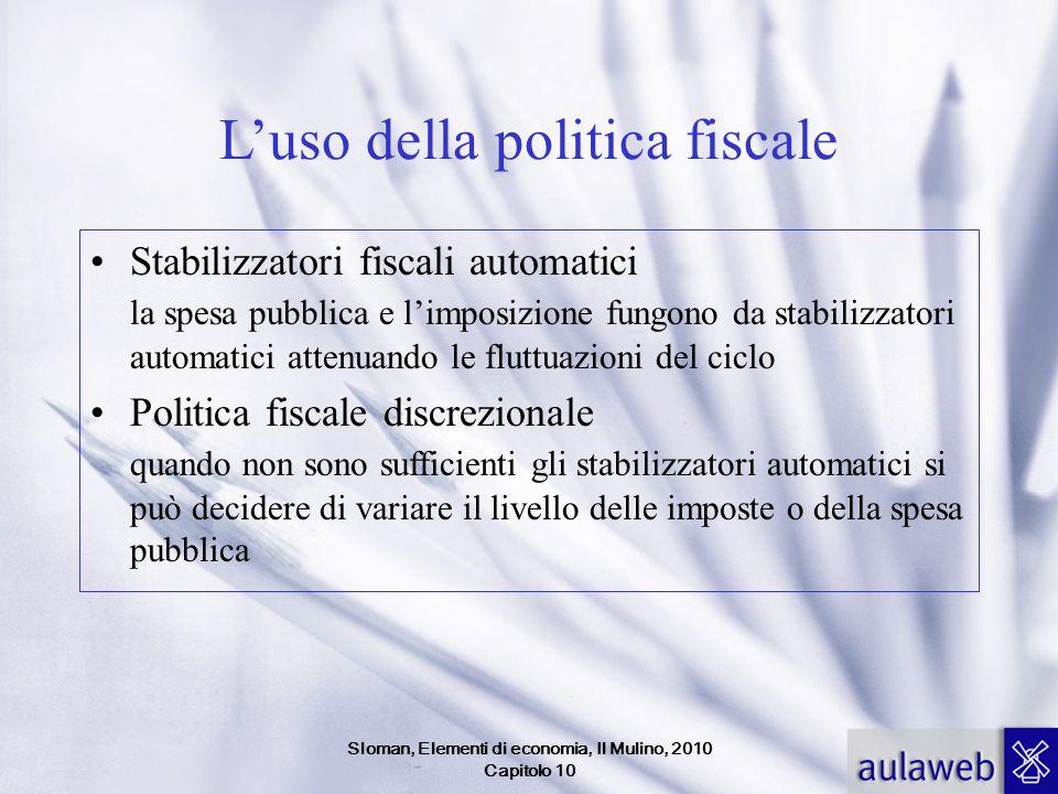 Sloman, Elementi di economia, Il Mulino, 2010 Capitolo 10 Luso della politica fiscale Stabilizzatori fiscali automatici la spesa pubblica e limposizio