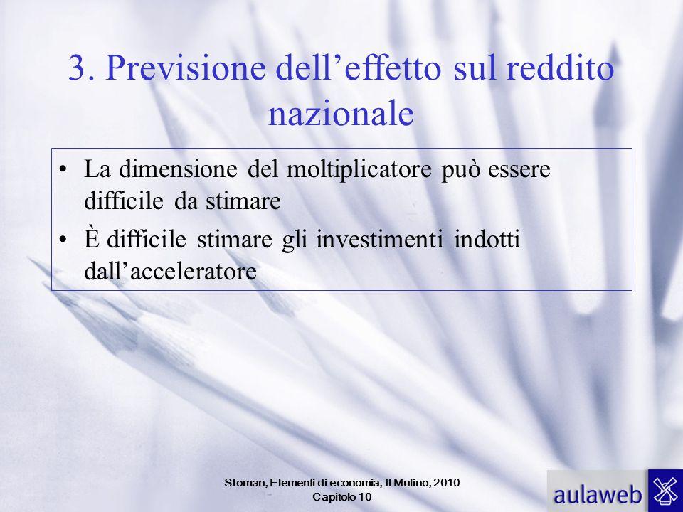 Sloman, Elementi di economia, Il Mulino, 2010 Capitolo 10 3. Previsione delleffetto sul reddito nazionale La dimensione del moltiplicatore può essere