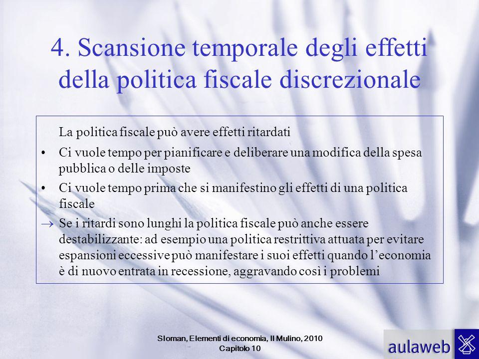 Sloman, Elementi di economia, Il Mulino, 2010 Capitolo 10 4. Scansione temporale degli effetti della politica fiscale discrezionale La politica fiscal