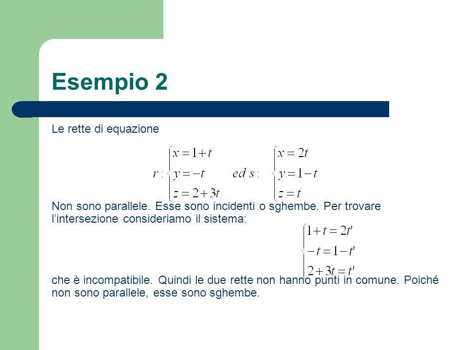 Esempio 2 Le rette di equazione Non sono parallele. Esse sono incidenti o sghembe. Per trovare lintersezione consideriamo il sistema: che è incompatib