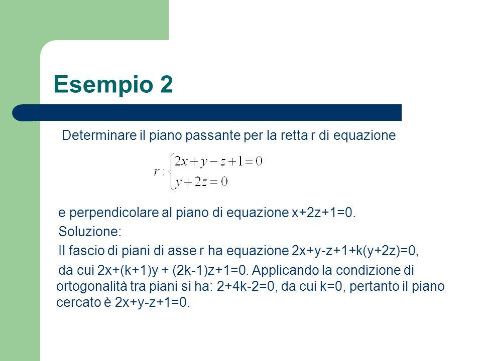 Esempio 2 Determinare il piano passante per la retta r di equazione e perpendicolare al piano di equazione x+2z+1=0. Soluzione: Il fascio di piani di