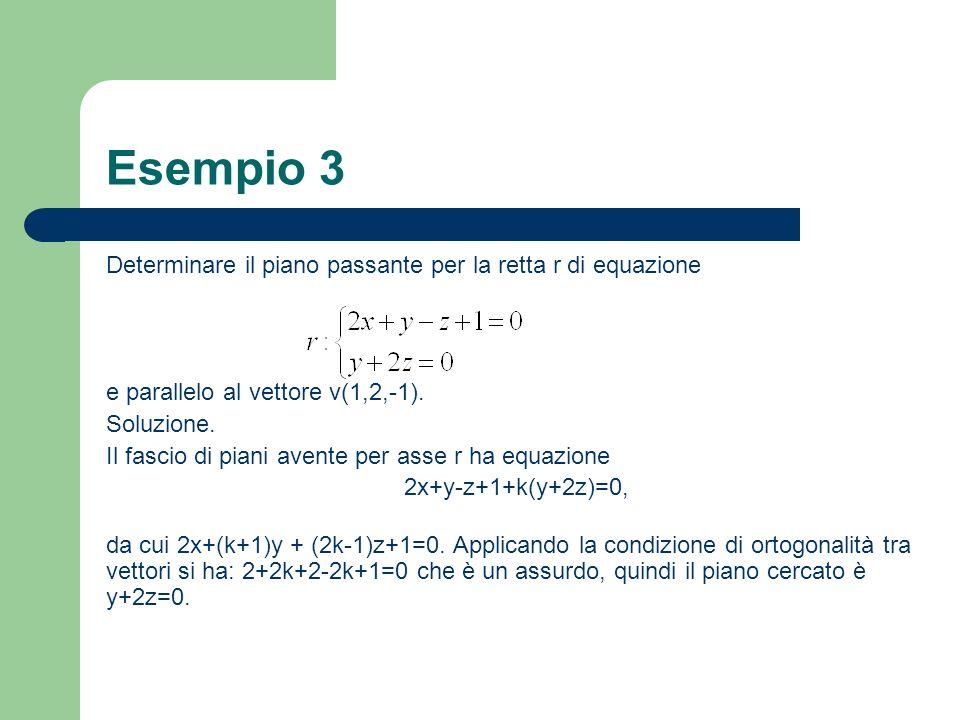 Esempio 3 Determinare il piano passante per la retta r di equazione e parallelo al vettore v(1,2,-1). Soluzione. Il fascio di piani avente per asse r