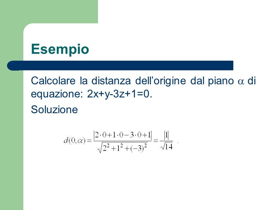 Esempio Calcolare la distanza dellorigine dal piano di equazione: 2x+y-3z+1=0. Soluzione