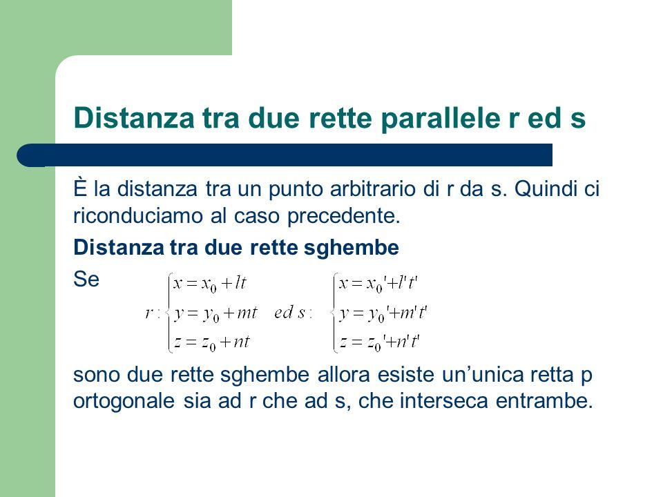 Distanza tra due rette parallele r ed s È la distanza tra un punto arbitrario di r da s. Quindi ci riconduciamo al caso precedente. Distanza tra due r