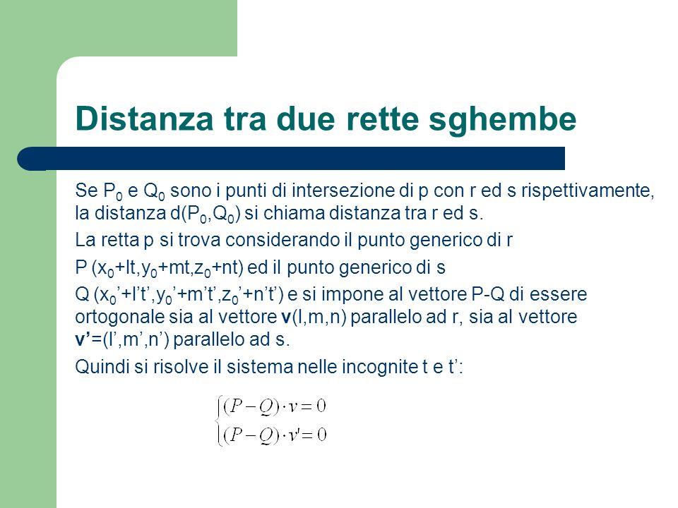 Distanza tra due rette sghembe Se P 0 e Q 0 sono i punti di intersezione di p con r ed s rispettivamente, la distanza d(P 0,Q 0 ) si chiama distanza t