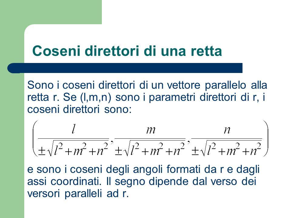 Coseni direttori di una retta Sono i coseni direttori di un vettore parallelo alla retta r. Se (l,m,n) sono i parametri direttori di r, i coseni diret