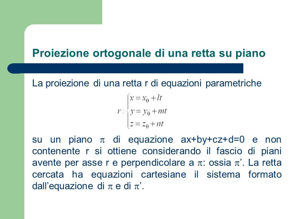 Proiezione ortogonale di una retta su piano La proiezione di una retta r di equazioni parametriche su un piano di equazione ax+by+cz+d=0 e non contene