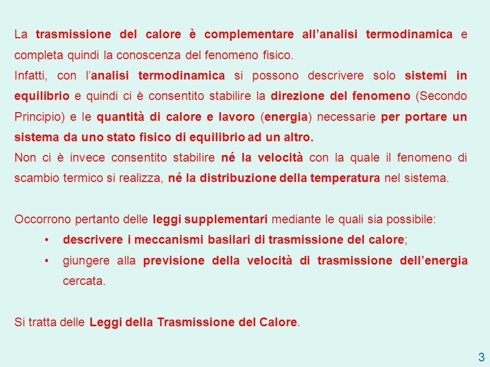 3 La trasmissione del calore è complementare allanalisi termodinamica e completa quindi la conoscenza del fenomeno fisico.