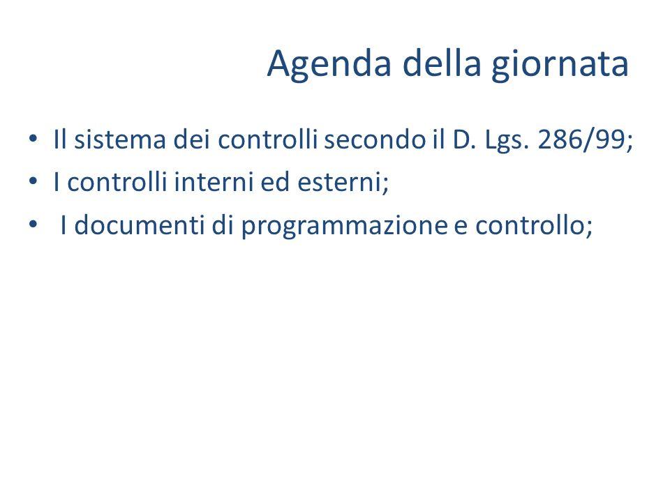 Agenda della giornata Il sistema dei controlli secondo il D. Lgs. 286/99; I controlli interni ed esterni; I documenti di programmazione e controllo;