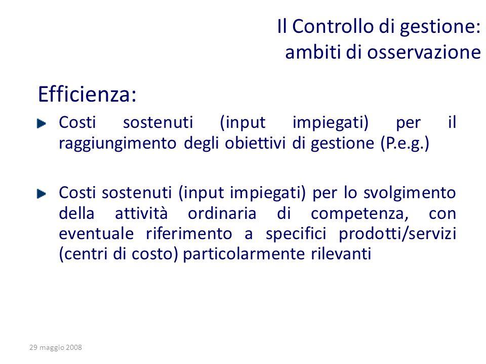 29 maggio 2008 Il Controllo di gestione: ambiti di osservazione Efficienza: Costi sostenuti (input impiegati) per il raggiungimento degli obiettivi di
