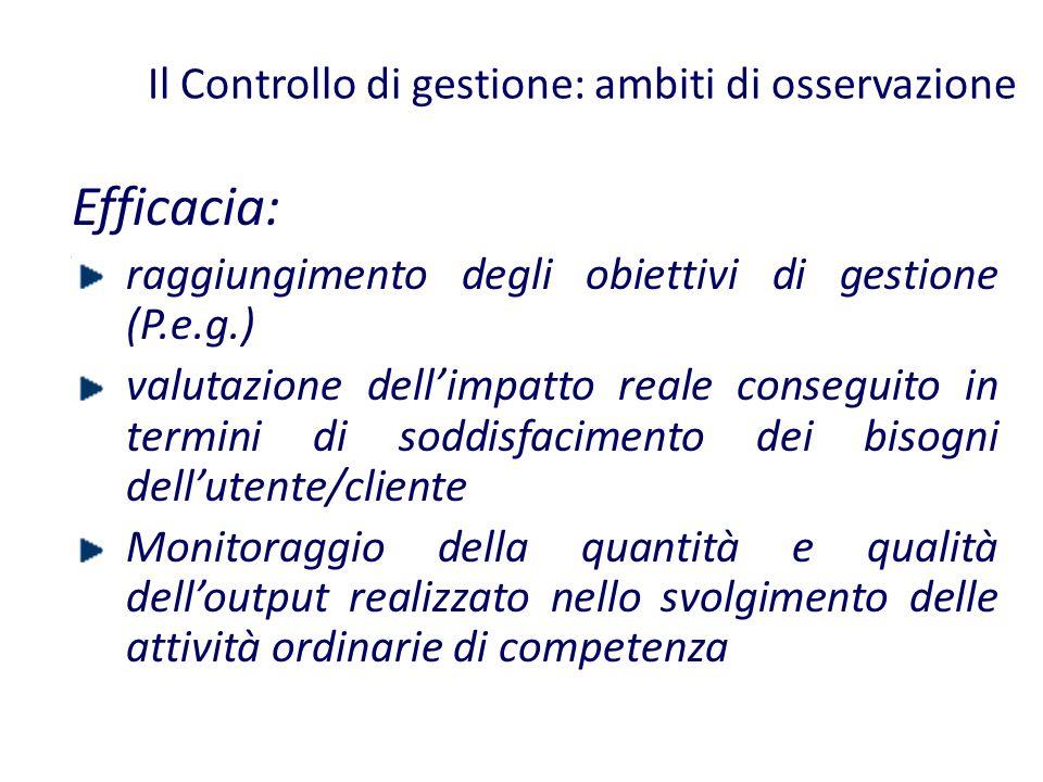 Il Controllo di gestione: ambiti di osservazione Efficacia: raggiungimento degli obiettivi di gestione (P.e.g.) valutazione dellimpatto reale consegui