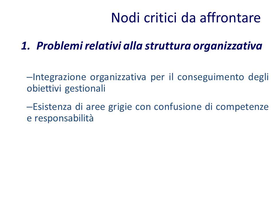 Nodi critici da affrontare 1.Problemi relativi alla struttura organizzativa – Integrazione organizzativa per il conseguimento degli obiettivi gestiona
