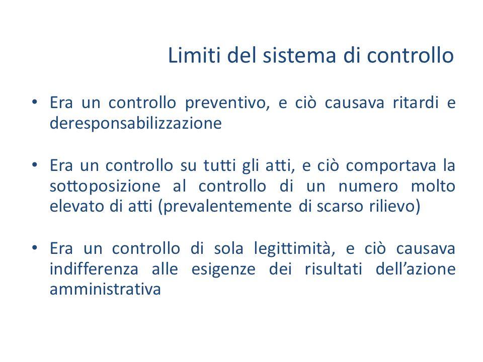 Il cambiamento nel sistema dei controlli CULTURA DELLATTO Dirigenti Organi politici Personale CULTURA DEL RISULTATO Rispetto della legalità; Procedure; Regole formali; Efficienza; Efficacia; Economicità