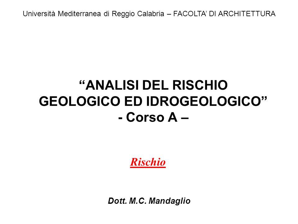 ANALISI DEL RISCHIO GEOLOGICO ED IDROGEOLOGICO - Corso A – Dott. M.C. Mandaglio Università Mediterranea di Reggio Calabria – FACOLTA DI ARCHITETTURA R