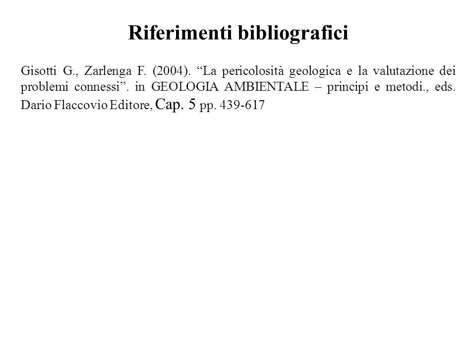 Riferimenti bibliografici Gisotti G., Zarlenga F. (2004). La pericolosità geologica e la valutazione dei problemi connessi. in GEOLOGIA AMBIENTALE – p