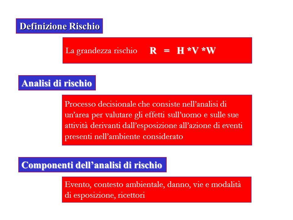 Definizione Rischio La grandezza rischio Analisi di rischio Processo decisionale che consiste nellanalisi di unarea per valutare gli effetti sulluomo