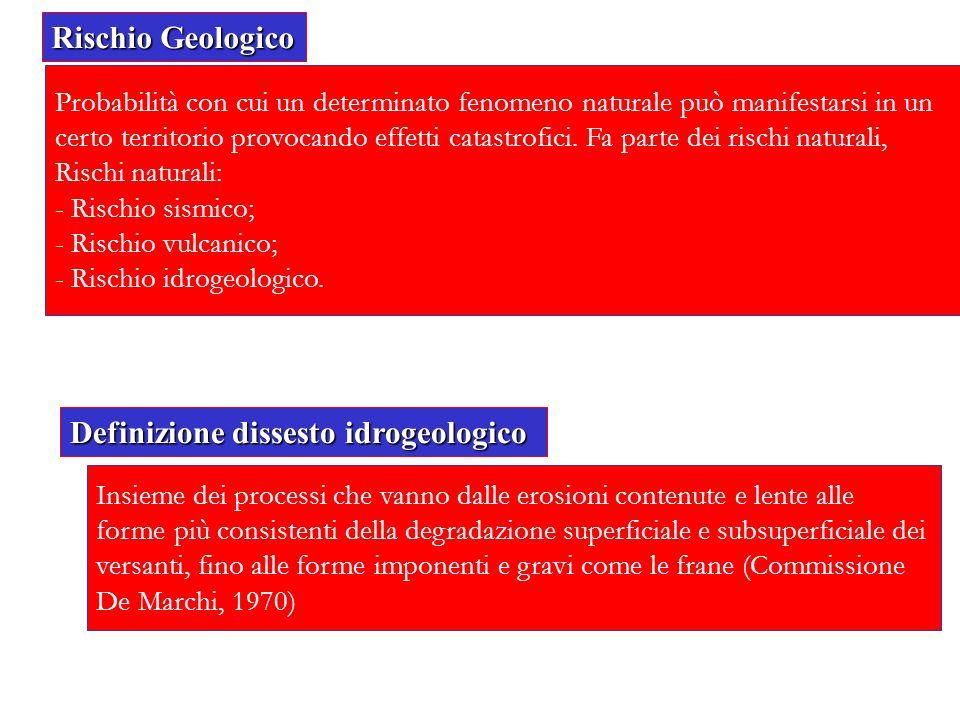 Rischio Geologico Probabilità con cui un determinato fenomeno naturale può manifestarsi in un certo territorio provocando effetti catastrofici. Fa par