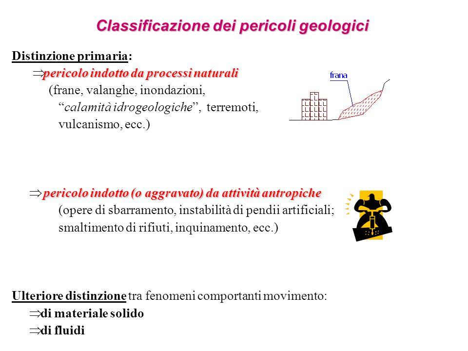 Classificazione dei pericoli geologici Distinzione primaria: pericolo indotto da processi naturali (frane, valanghe, inondazioni, calamità idrogeologi