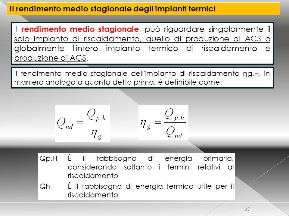 CORSO CERTIFICATORE ENERGETICO PER EDIFICI 27 Il rendimento medio stagionale degli impianti termici Il rendimento medio stagionale, può riguardare sin