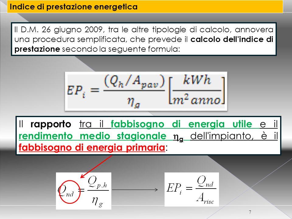 7 Indice di prestazione energetica Il D.M. 26 giugno 2009, tra le altre tipologie di calcolo, annovera una procedura semplificata, che prevede il calc