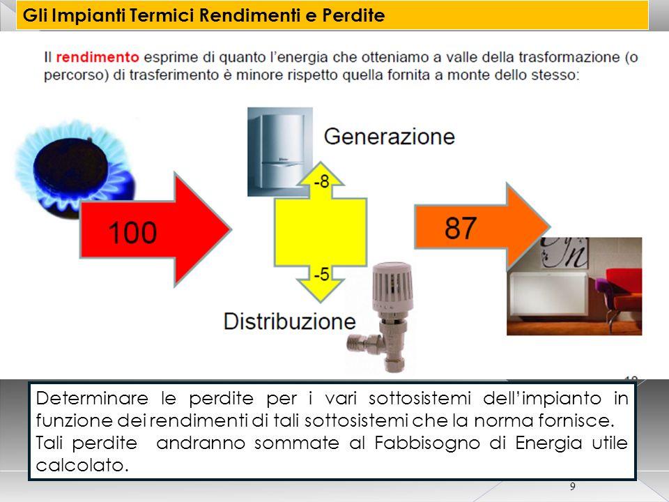 CORSO CERTIFICATORE ENERGETICO PER EDIFICI 10 Gli Impianti Termici Rendimenti e Perdite Definire i rendimenti dei singoli sottosistemi che formano l intero impianto termico.