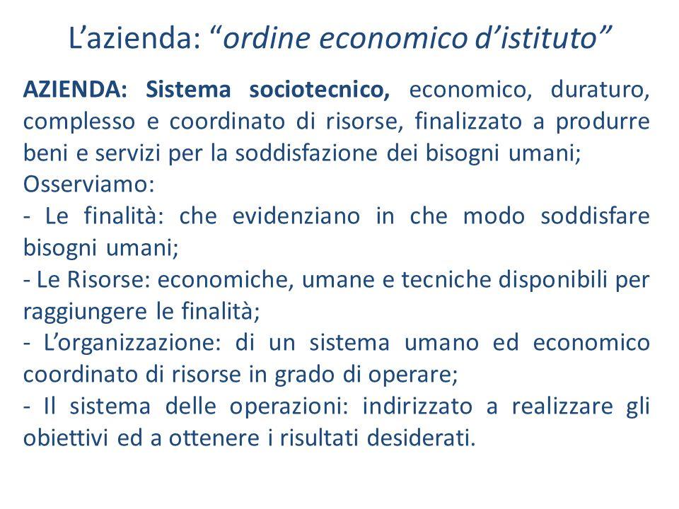 Lazienda: ordine economico distituto AZIENDA: Sistema sociotecnico, economico, duraturo, complesso e coordinato di risorse, finalizzato a produrre ben