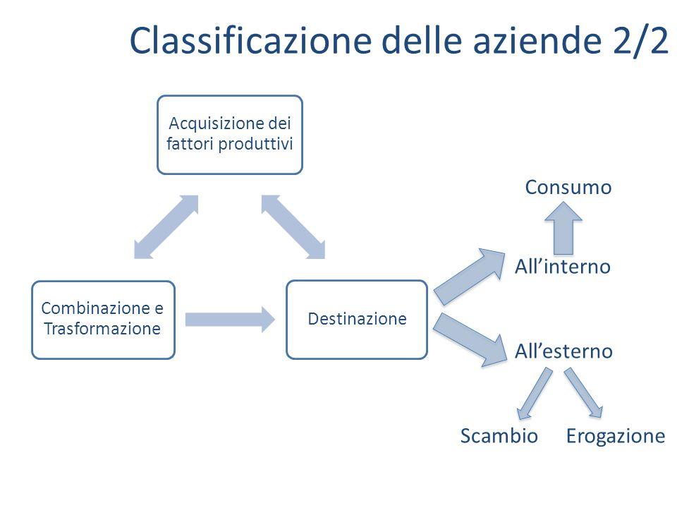 Classificazione delle aziende 2/2 Acquisizione dei fattori produttivi Destinazione Combinazione e Trasformazione Allinterno Allesterno Consumo Scambio
