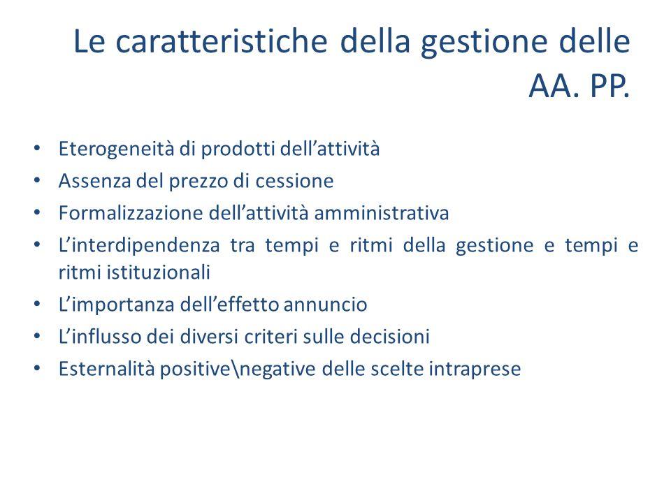 Le caratteristiche della gestione delle AA. PP. Eterogeneità di prodotti dellattività Assenza del prezzo di cessione Formalizzazione dellattività ammi