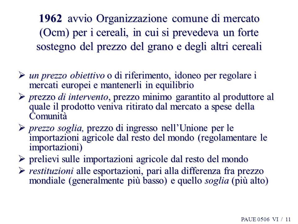 PAUE 0506 VI / 11 1962 avvio Organizzazione comune di mercato (Ocm) per i cereali, in cui si prevedeva un forte sostegno del prezzo del grano e degli
