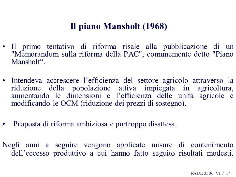 PAUE 0506 VI / 14 Il piano Mansholt (1968) Il primo tentativo di riforma risale alla pubblicazione di un