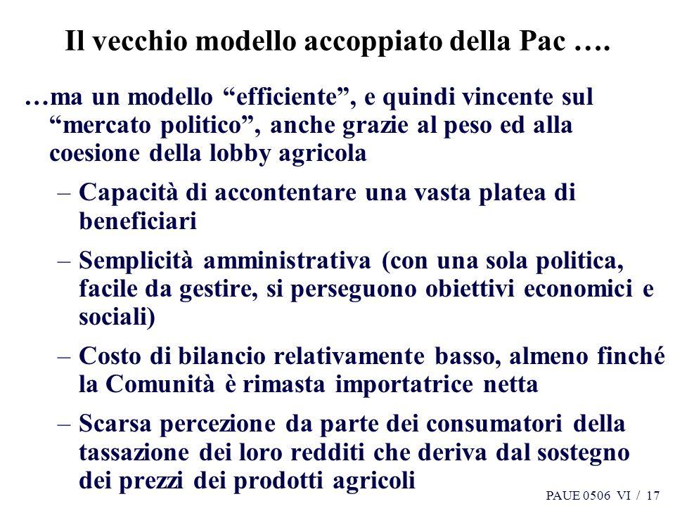 PAUE 0506 VI / 17 Il vecchio modello accoppiato della Pac …. …ma un modello efficiente, e quindi vincente sul mercato politico, anche grazie al peso e