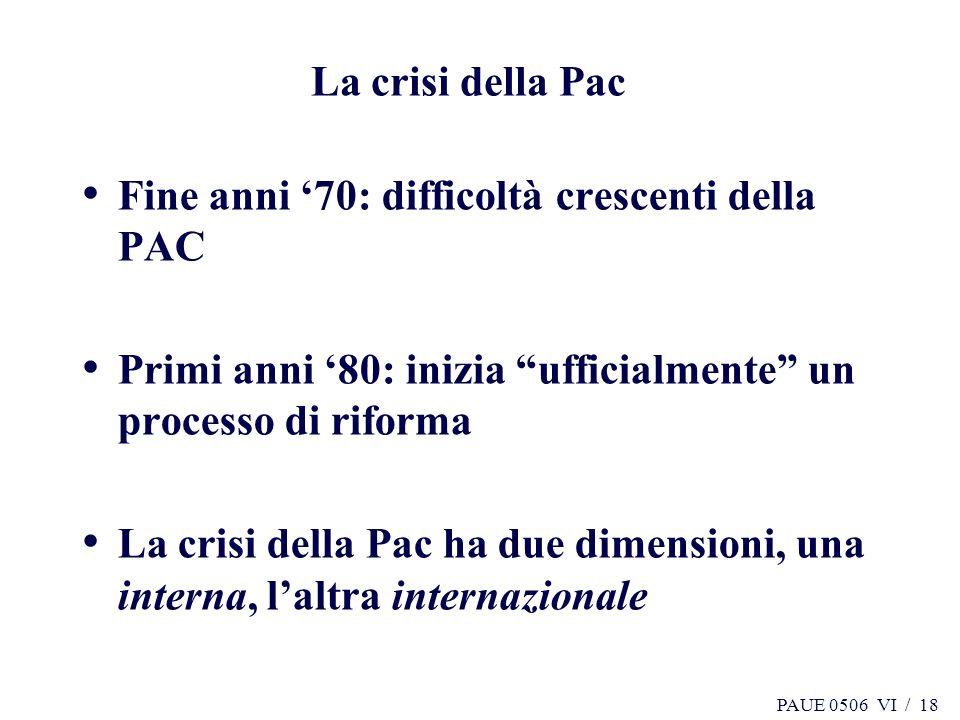 PAUE 0506 VI / 18 La crisi della Pac Fine anni 70: difficoltà crescenti della PAC Primi anni 80: inizia ufficialmente un processo di riforma La crisi