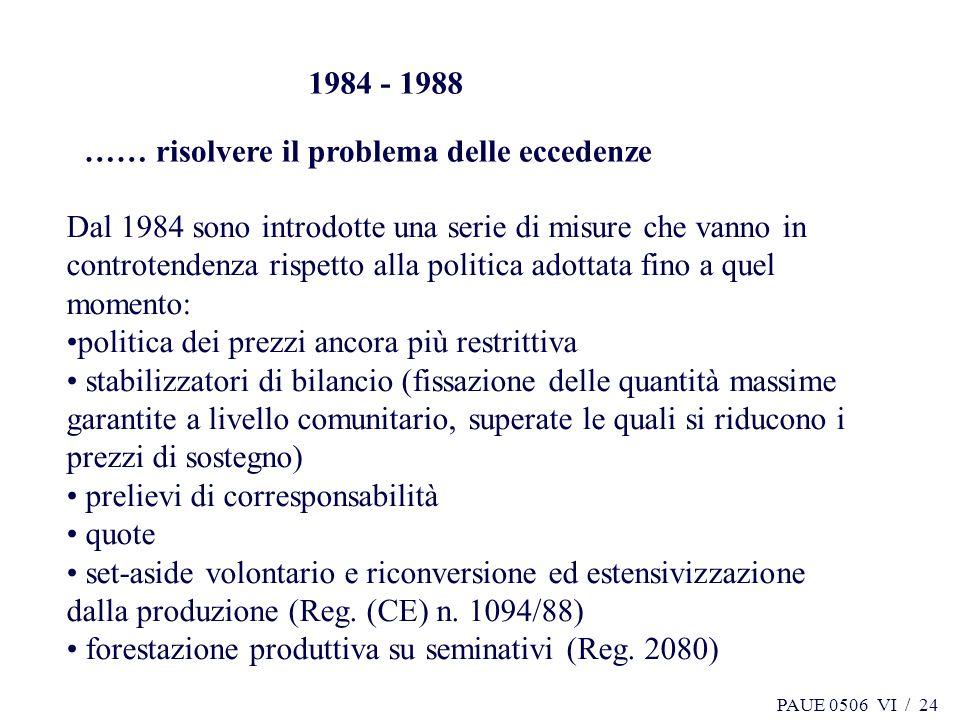 PAUE 0506 VI / 24 1984 - 1988 …… risolvere il problema delle eccedenze Dal 1984 sono introdotte una serie di misure che vanno in controtendenza rispet
