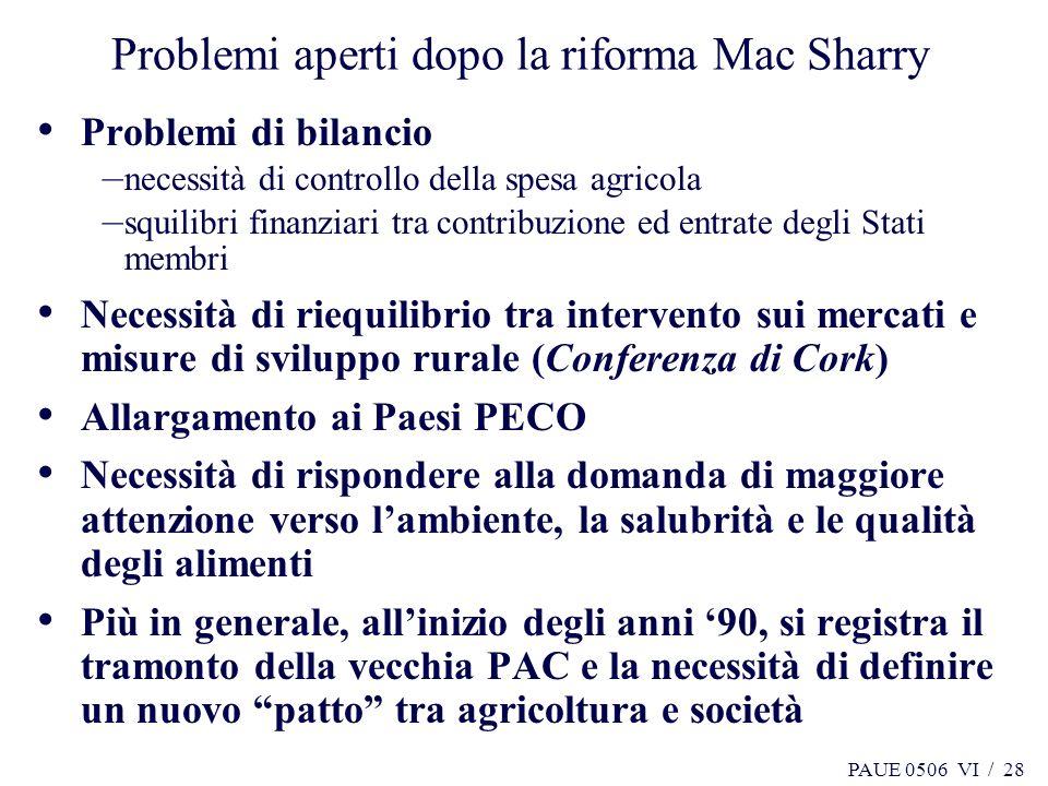 PAUE 0506 VI / 28 Problemi aperti dopo la riforma Mac Sharry Problemi di bilancio – necessità di controllo della spesa agricola – squilibri finanziari