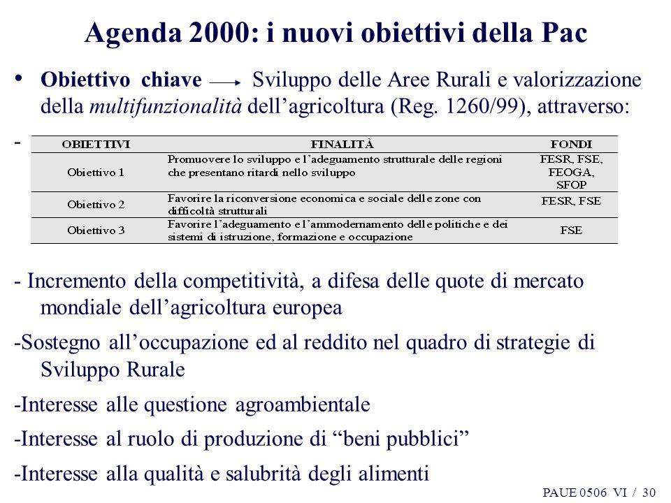 PAUE 0506 VI / 30 Agenda 2000: i nuovi obiettivi della Pac Obiettivo chiave Sviluppo delle Aree Rurali e valorizzazione della multifunzionalità dellag