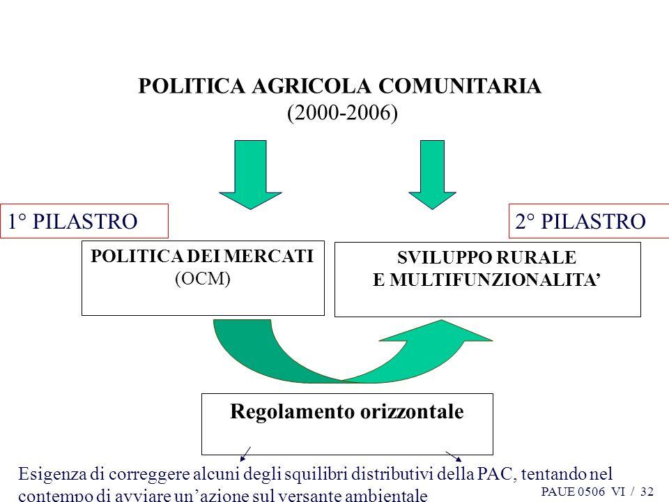 PAUE 0506 VI / 32 POLITICA AGRICOLA COMUNITARIA (2000-2006) POLITICA DEI MERCATI (OCM) SVILUPPO RURALE E MULTIFUNZIONALITA Regolamento orizzontale 1°