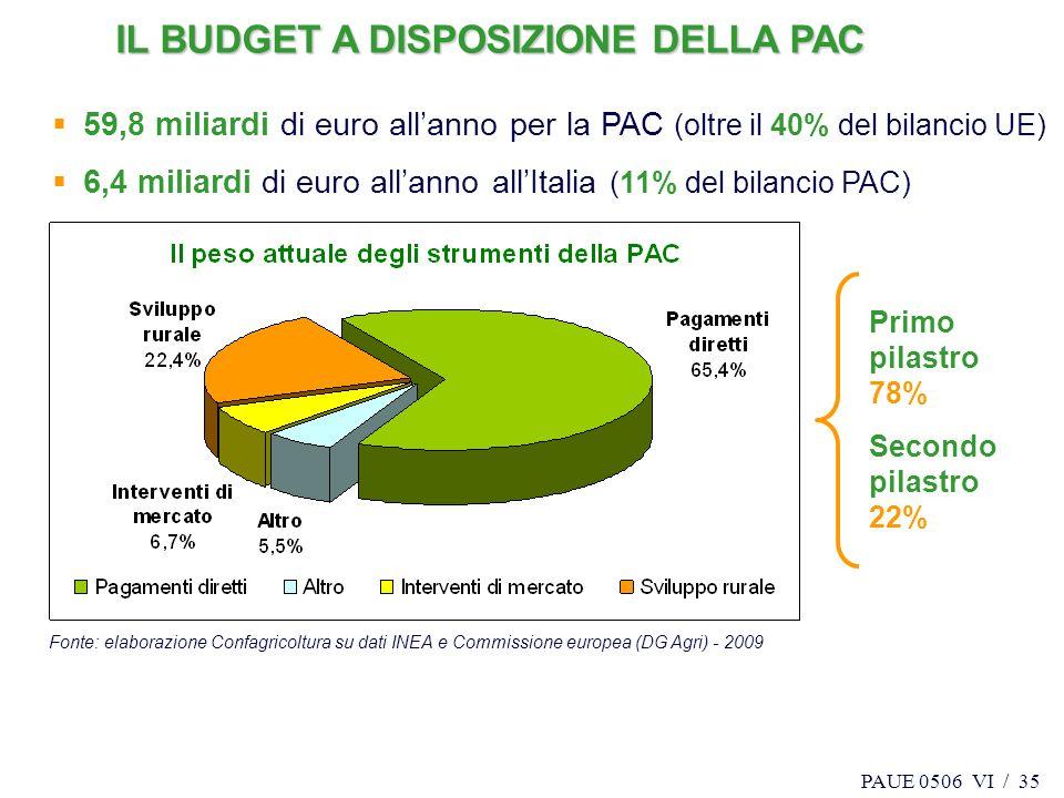 PAUE 0506 VI / 35 Fonte: elaborazione Confagricoltura su dati INEA e Commissione europea (DG Agri) - 2009 Primo pilastro 78% Secondo pilastro 22% 59,8