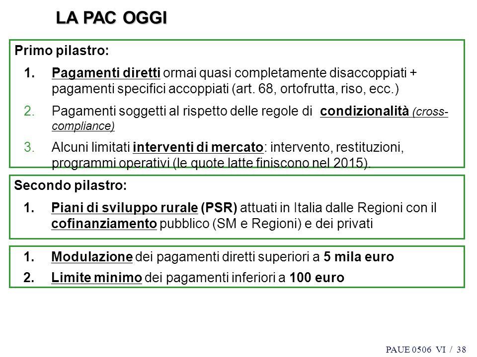 PAUE 0506 VI / 38 Secondo pilastro: 1.Piani di sviluppo rurale (PSR) attuati in Italia dalle Regioni con il cofinanziamento pubblico (SM e Regioni) e