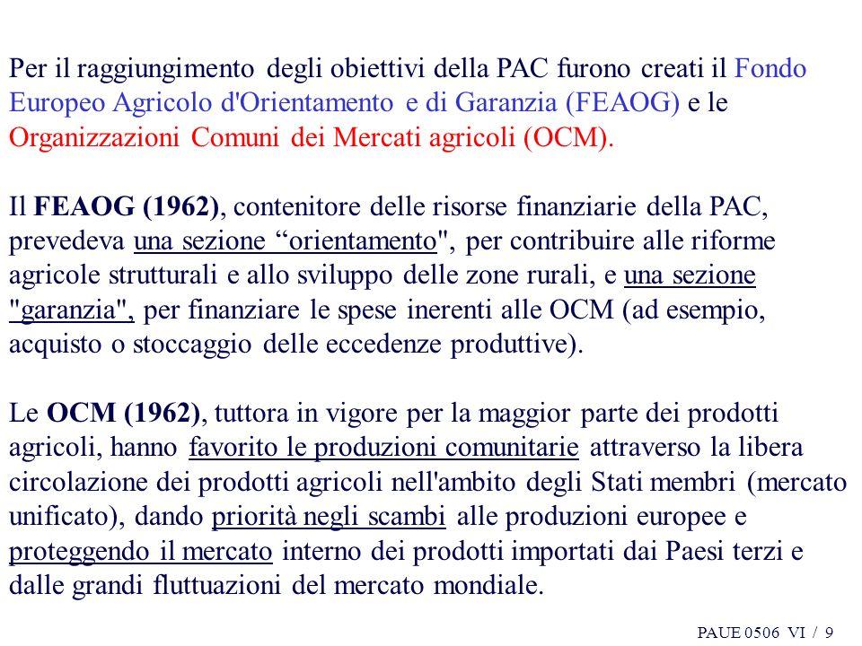 PAUE 0506 VI / 10 Le Organizzazioni comuni di mercato (OCM) consentono innanzitutto : - di fissare per i prodotti agricoli prezzi unici per tutti i mercati europei, - di concedere aiuti ai produttori o agli operatori del settore, - di istituire meccanismi di controllo della produzione e disciplinare gli scambi con i Paesi terzi.