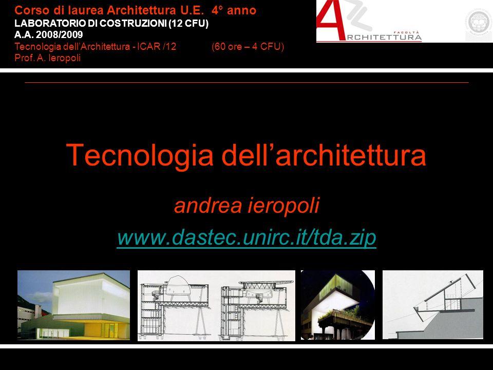 arch. Consuelo Nava Corso di laurea Architettura U.E.4° anno LABORATORIO DI COSTRUZIONI (12 CFU) A.A. 2008/2009 Tecnologia dellArchitettura - ICAR /12