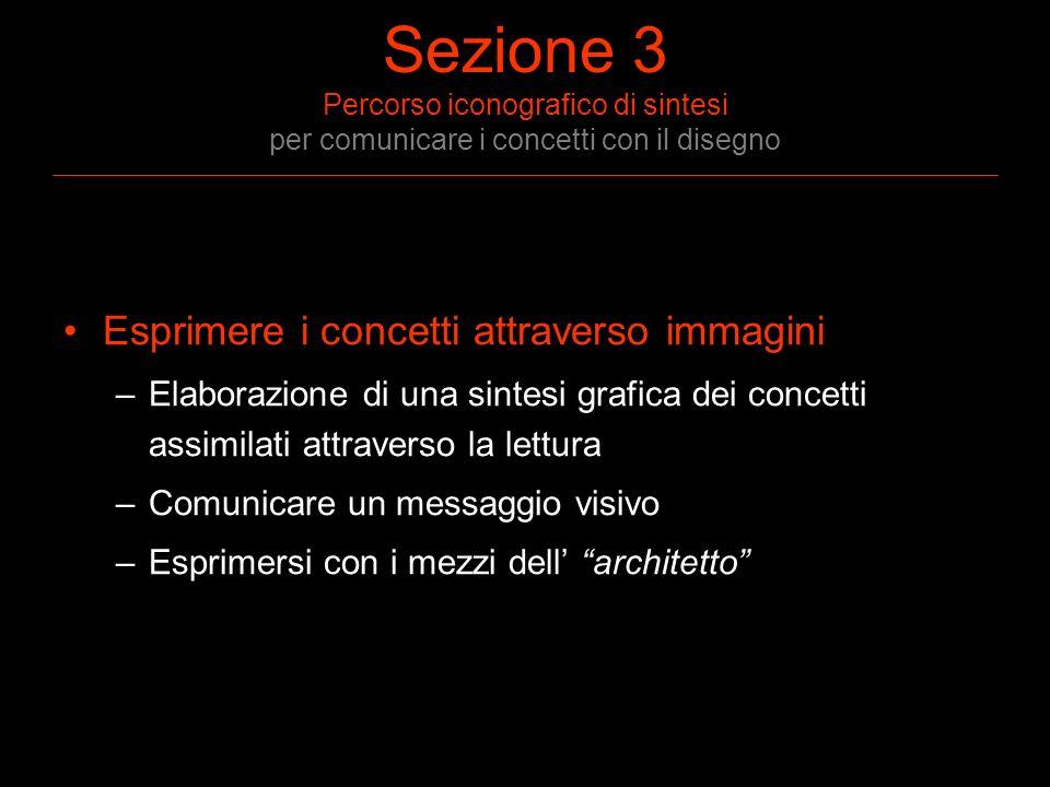 Sezione 3 Percorso iconografico di sintesi per comunicare i concetti con il disegno Esprimere i concetti attraverso immagini –Elaborazione di una sint