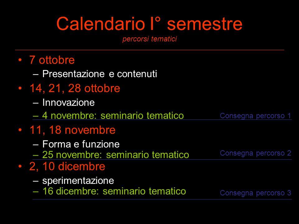Calendario I° semestre percorsi tematici 7 ottobre –Presentazione e contenuti 14, 21, 28 ottobre –Innovazione –4 novembre: seminario tematico 11, 18 n